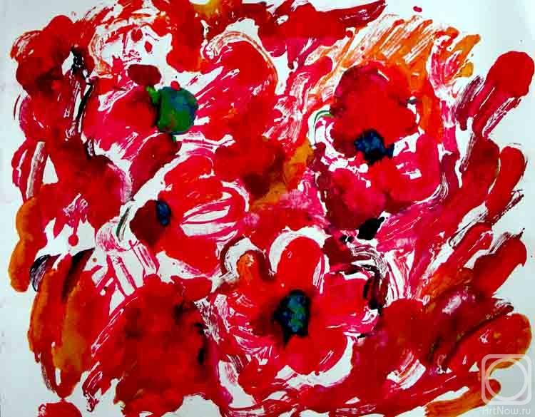 Художника красные цветы монотипия