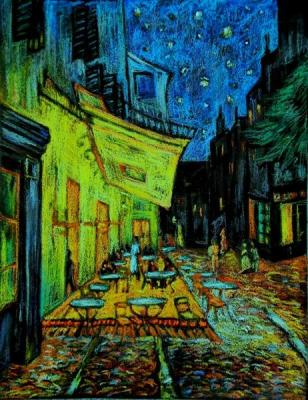 "Copy from Van Gogh's picture ""Night cafe in Arle"". Morosova Natalia"