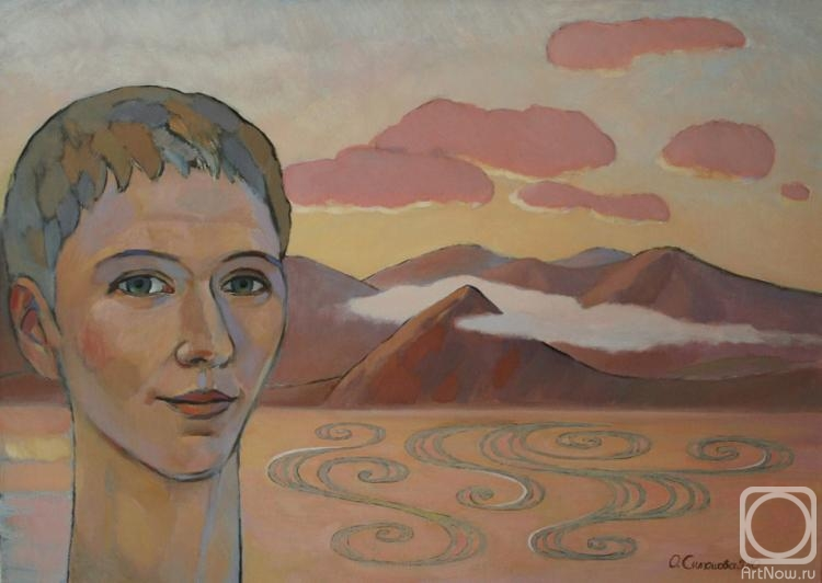 Симашова Ольга. Автопортрет на фоне морского пейзажа.