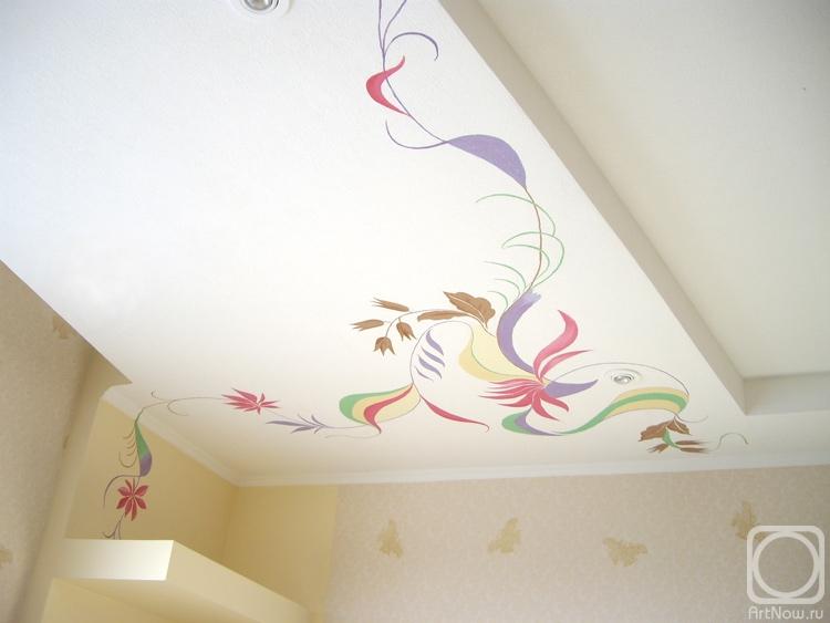 Рисунки на потолке на кухне своими руками 32