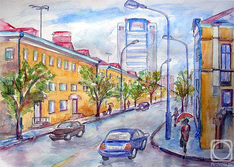 рисунок на тему моя улица высокую