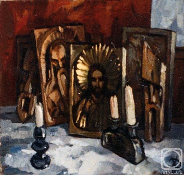 Натюрморт с иконами Дипломная работа Картины художника  Торик Хурматова Дилара Натюрморт с иконами Дипломная работа 1996