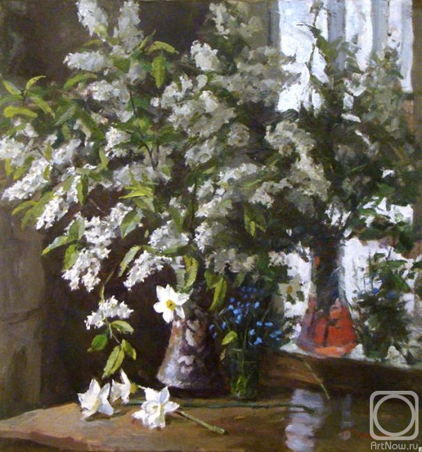 Rubinsky Pavel. Still-life with a bird cherry