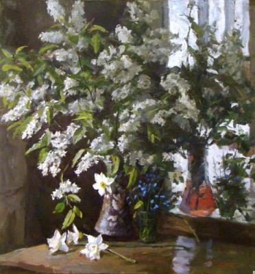 Still-life with a bird cherry. Rubinsky Pavel
