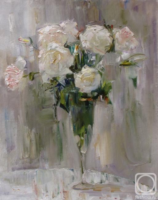 белые розы. Картины художника.