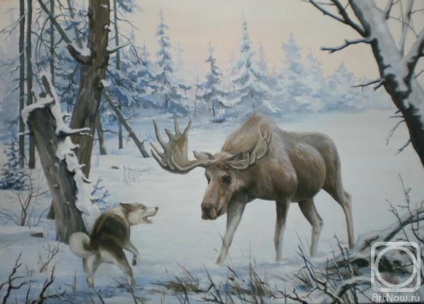 Художника лось в зимнем лесу