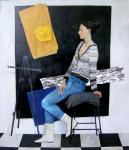 """Картина """"Портрет на фоне чёрного квадрата."""". Колобова Маргарита"""