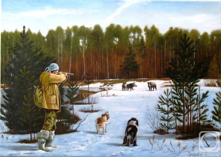охотник в зимнем лесу рисунок стали подходить вплотную