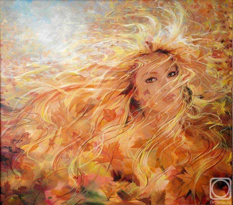 Картинка девушка осень нарисованная