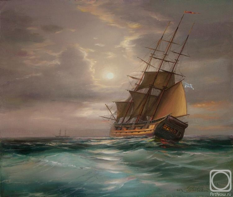Парусные корабли на закате