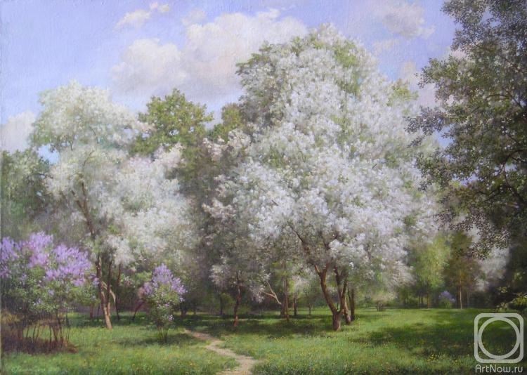 Художника яблони весенний сад