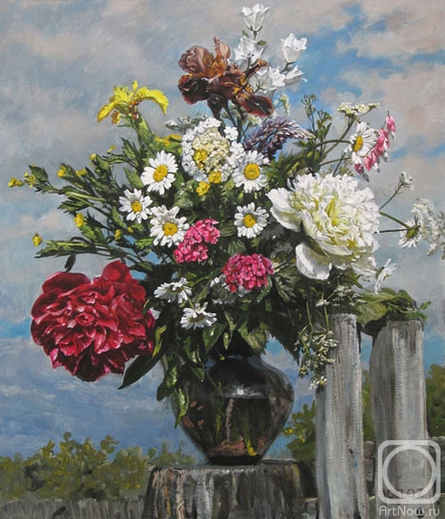 Картины художника букет на фоне неба
