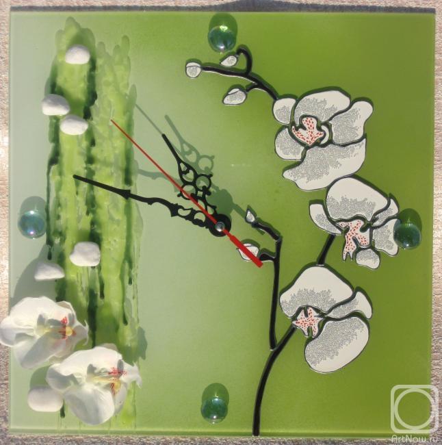 """Столярова Лариса. Авторские часы """"Нежность орхидеи"""""""