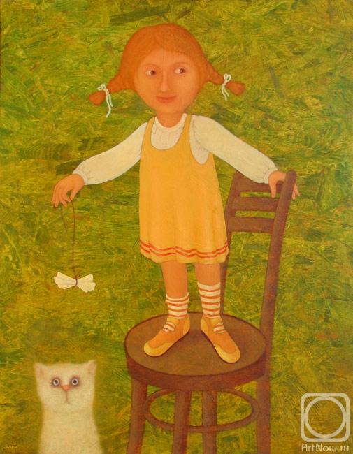 """Оригинал - Схема вышивки  """"Девочка с котиком """" - Схемы автора  """"Elena """" - Вышивка крестом."""