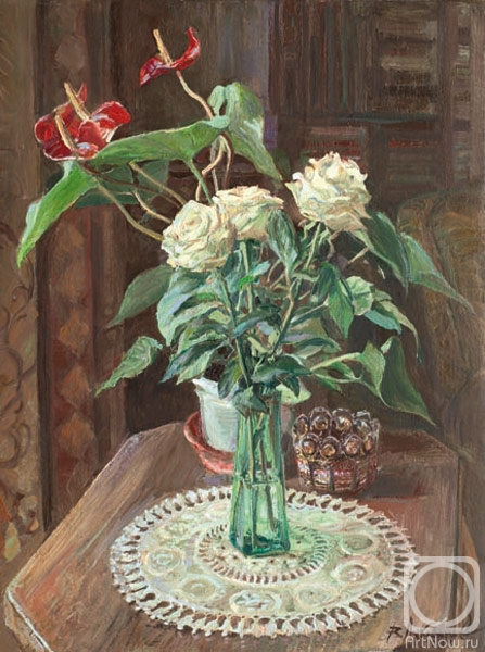 Loukianov Victor. Still-life with white roses
