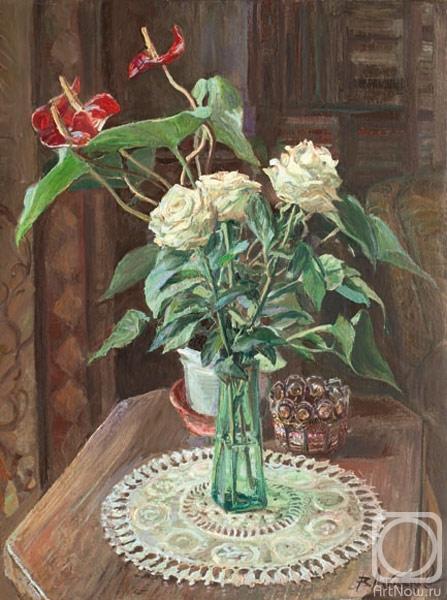 Лукьянов Виктор. Натюрморт с белыми розами