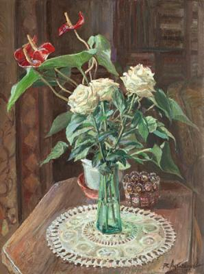 Still-life with white roses. Loukianov Victor