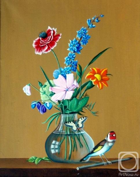 Букет цветов, бабочка и птичка. Копия Толстого Ф. П.. Работы ...