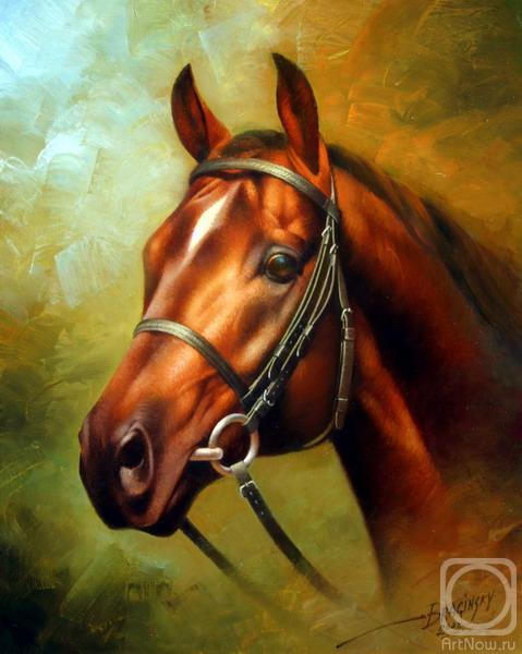 ID: 706 Название: Голова рыжей лошади Автор: Артур Брагинский.  Репродукция: 50х40 см Материал: печать на холсте.