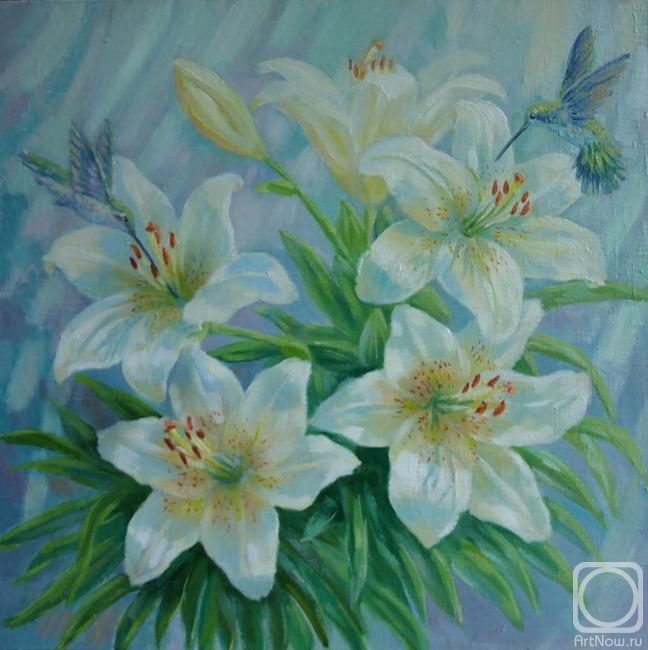 Сидоренко Жанна. Белые лилии и колибри