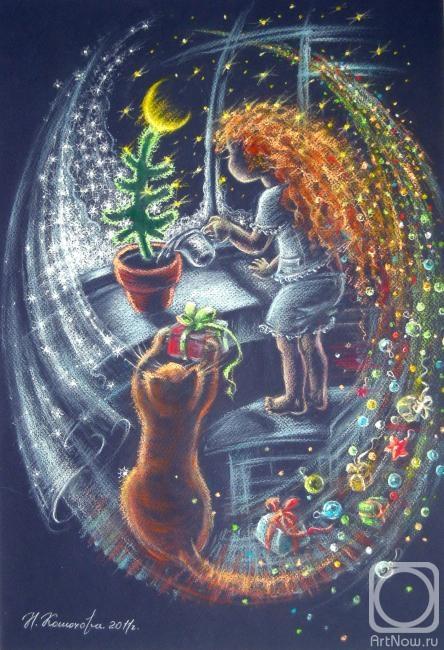 Рисуем пастелью к новому году