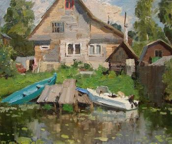 River Trubezh. Boats at home berth. Shevchuk Vasiliy