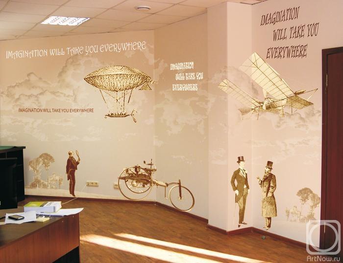 Винтажные рисунки на стенах