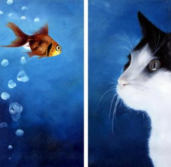 Картина «Cat and fish». Bruno Tina