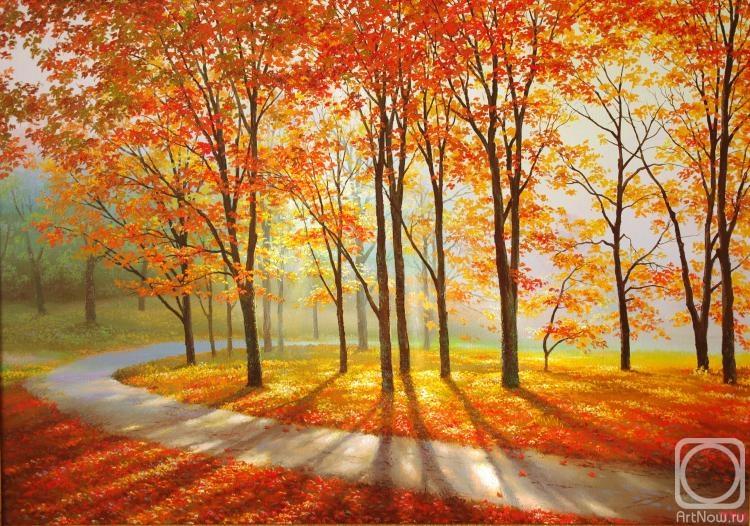 Осеннее утро картины художника