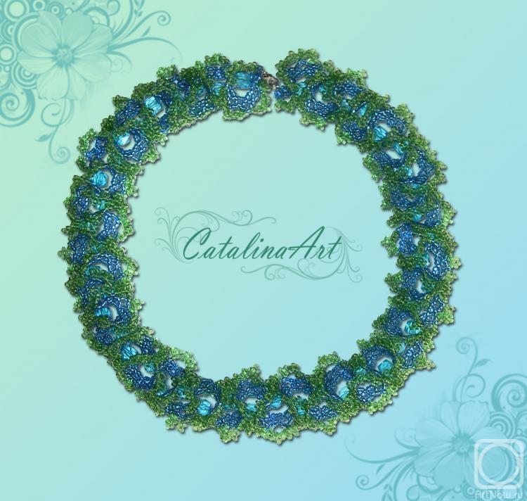 бисер, бусины/испанское кружево 2012 г. Работа оформлена.  Ожерелье: длина - 50 см. Предыдущая работа.