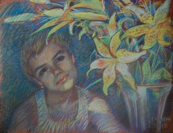 The Girl and Yellow Lilies. Dobrovolskaya Gayane