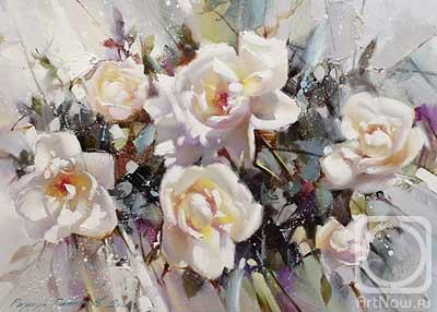 """Гаппасов Рамиль. Белые розы. Из серии""""Пленэр"""""""