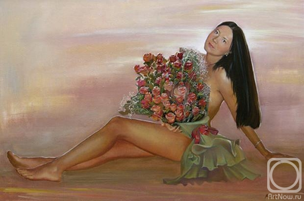 Девушка с букетом живопись фото