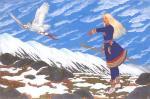 Саамcкая девушка с белой совой. Фомин Николай
