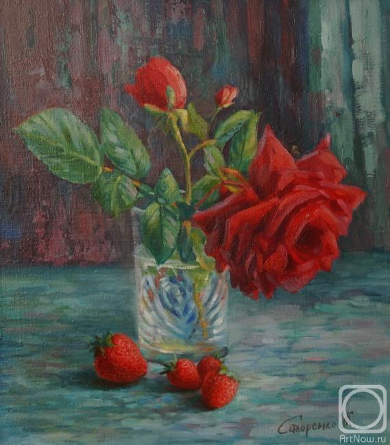 Сидоренко Жанна. Роза в стакане и клубника