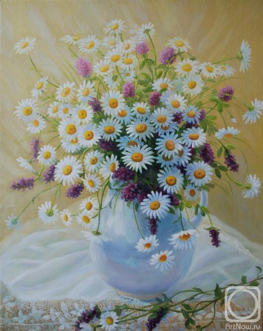 Сидоренко Жанна. Букет ромашек и полевых цветов