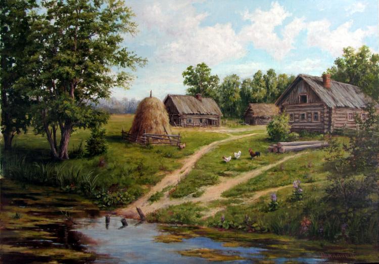 сельский пейзаж живопись: