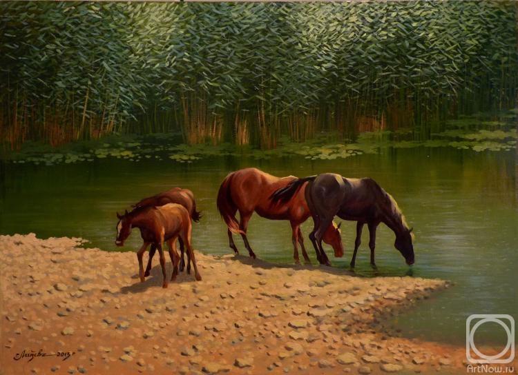 Полдень. Лошади на водопое.