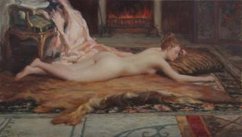 Korobkin Anatoly. Nude at the fireplace
