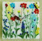 "Wall clock for a child's room, ""Glade"" glass fusing"