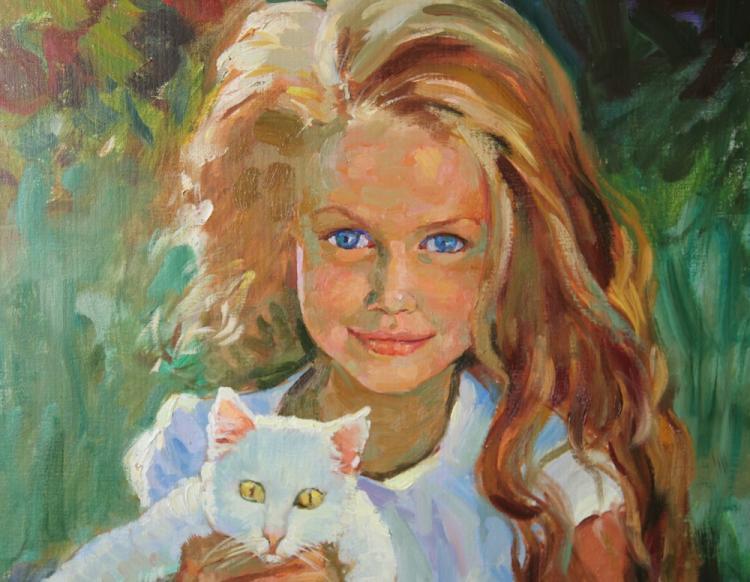 Вырвич Валентин. Алекса с котёнком. Фрагмент