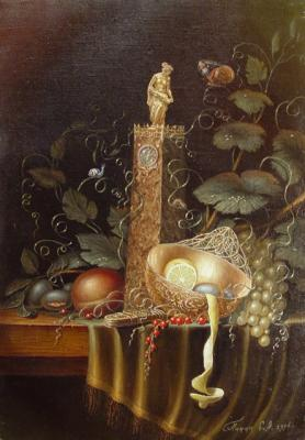 Panin Sergey. Still life with a clock and lemon