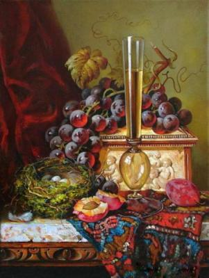 Still Life with Nest, grapes, casket