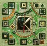 "Wall clock number 3 of a series of ""Greece"", glass, fusing"