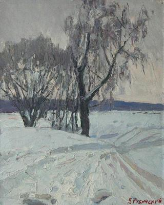 Rime on the birch. Rubinsky Pavel