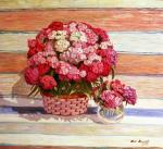 Turkish carnation on background Russian rug. Krasnova Nina