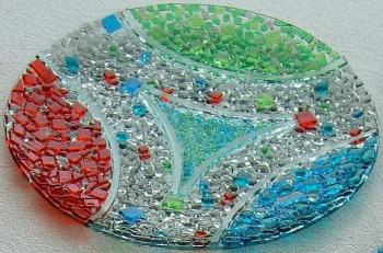 "Glass dish for the holiday table, ""lightweight geometry"" fusing. Repina Elena"