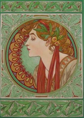 Laurel wreath. Copy of A. Mucha