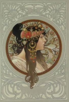Byzantine brunette. Copy of A. Mucha