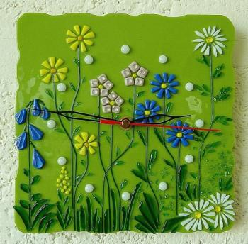 "Wall clock for the nursery ""Green meadow"" glass, fusing. Repina Elena"